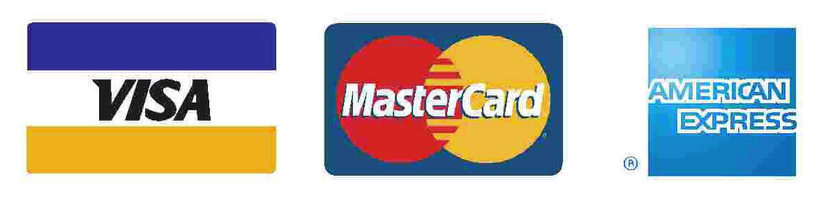 Payment options are Visa, Master Card, American Express